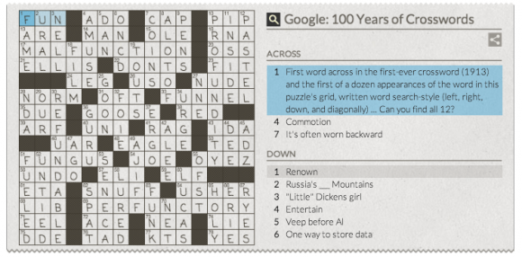 google crossword answers doodle