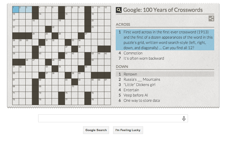 Google Doodle honors the Crossword - The Word Finder Blog!