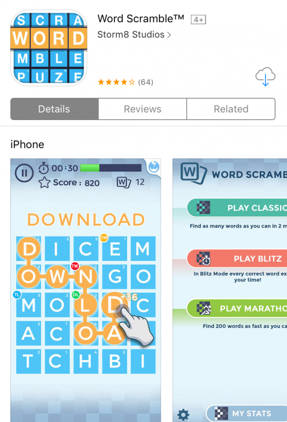 Best Word Game Apps: WordScramble via Apple's App Store