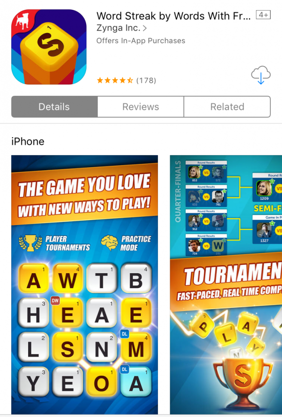 Best Word Game Apps: Word Streak via Apple's App Store
