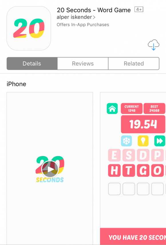 Best Word Game Apps: 20 Seconds via Apple's App Store