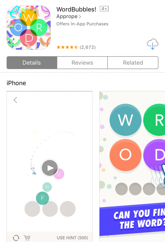 Best Word Game Apps: WordBubbles via Apple's App Store